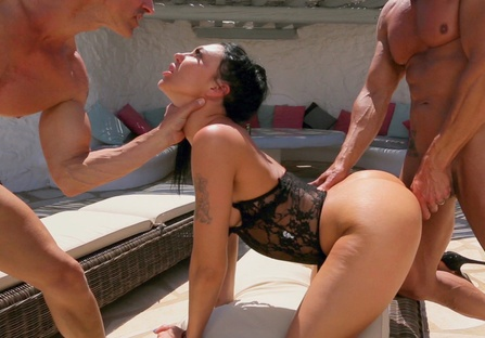 DP fuck with my husband and neighbor by the pool