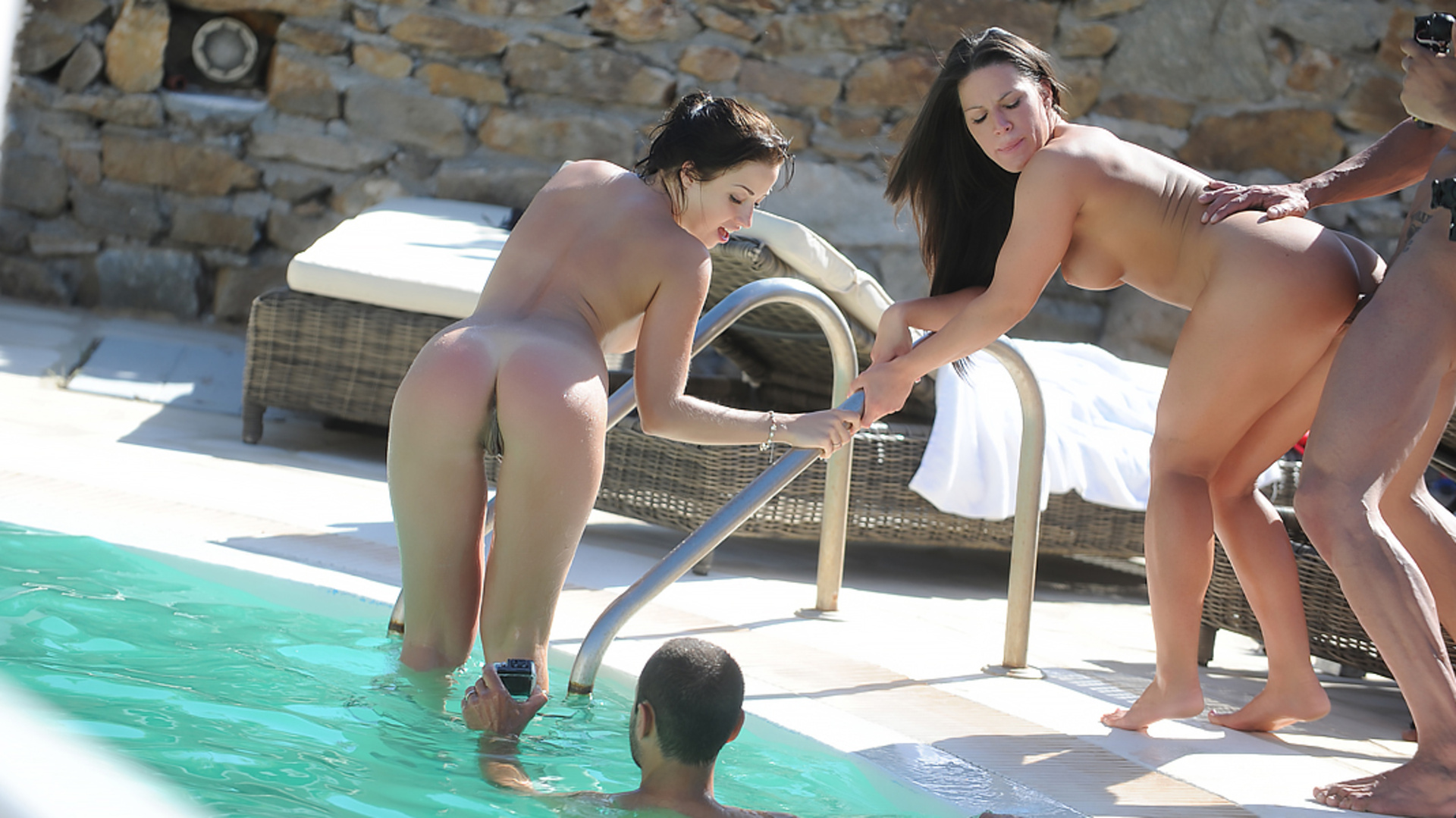 Pornstars go crazy in a pool at Mykonos