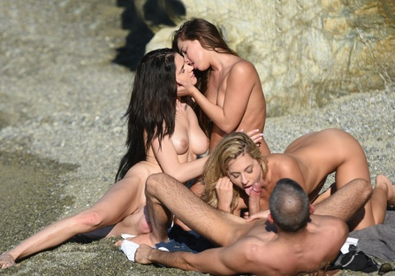 Beach orgy with stranger couple