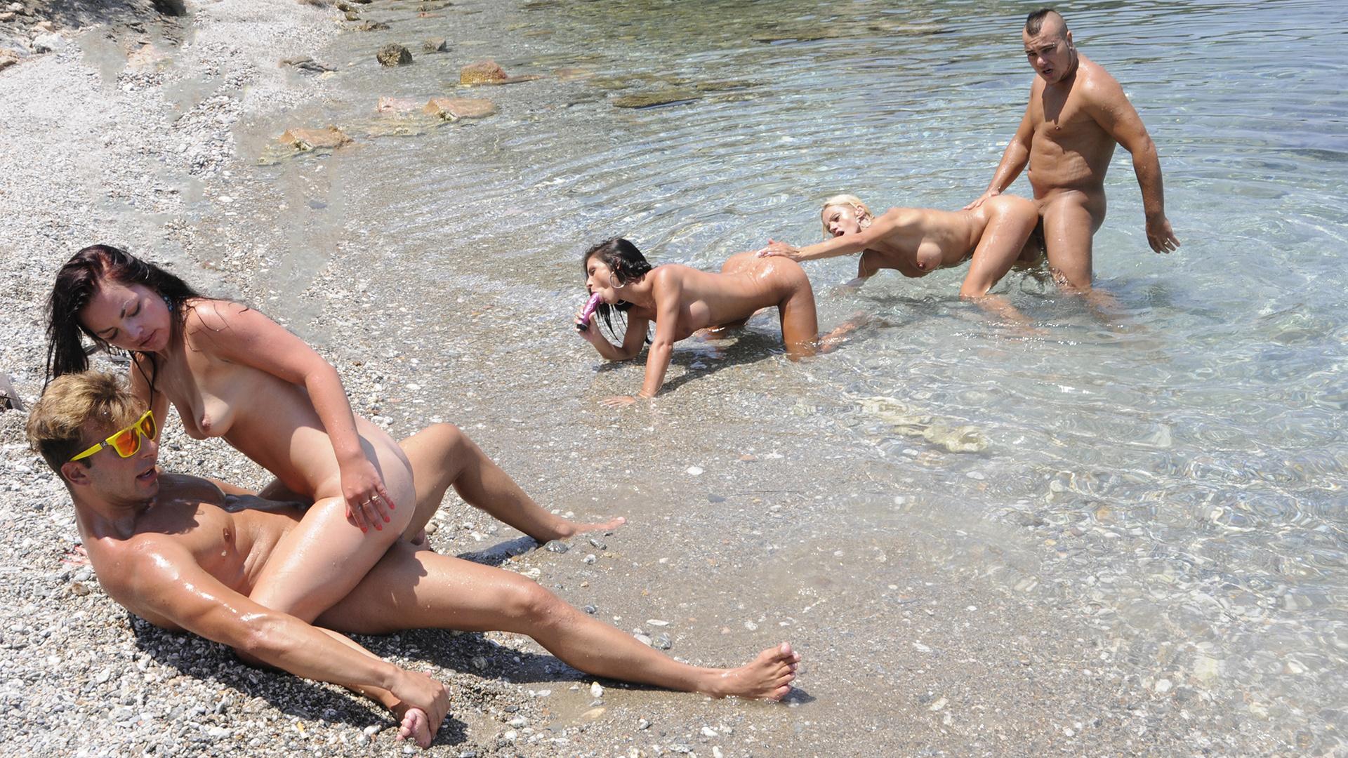 Sex orgy on the beach