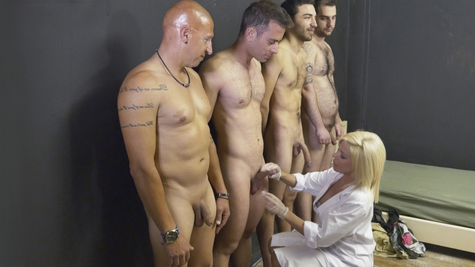 Marilou's creampie gang bang with troopers
