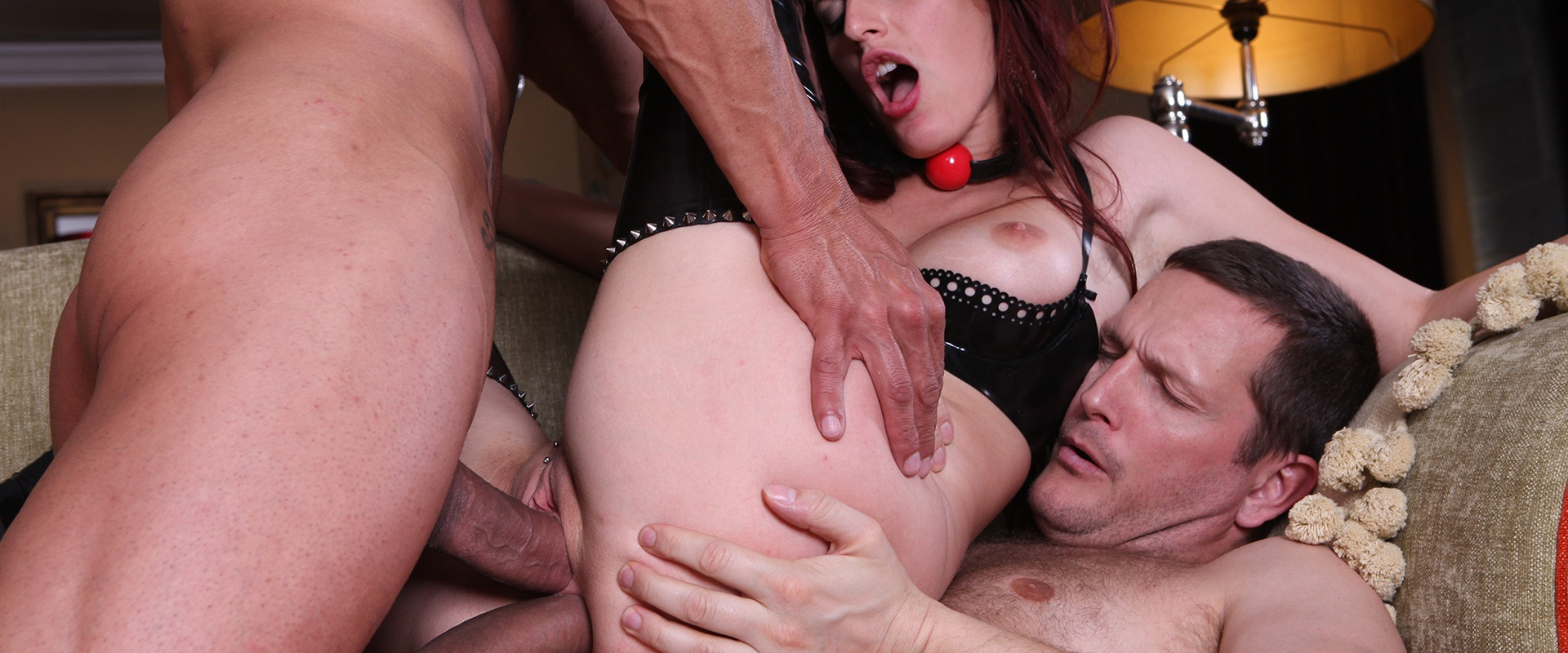 Redhead MILF seduces her two servants