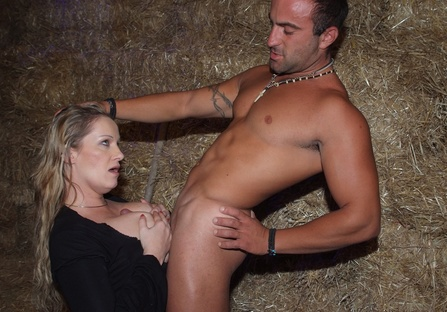 Riding my worker's shaft after catching him jerking off in the barn